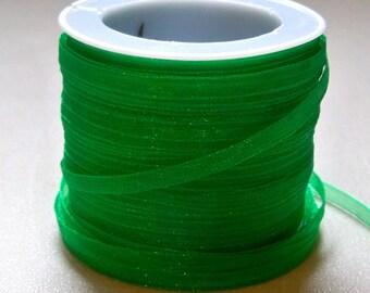 """Green Organza Ribbon-1/8""""-10 YDS."""