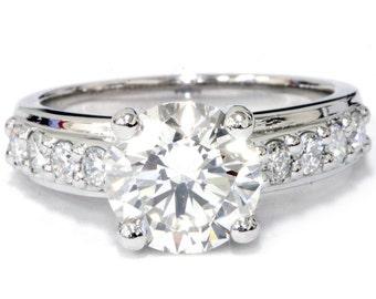 Diamond Engagement Ring, 3ct Diamond Engagement Ring, 14K White Gold Round Diamond Engagement Ring, Clarity Enhanced Diamond Engagement Ring