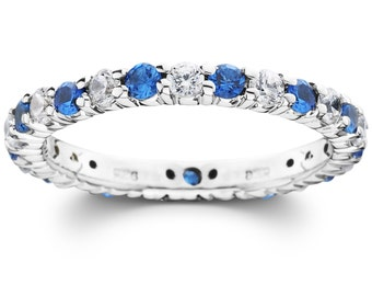 Sapphire Diamond Wedding Ring, Blue Sapphire Eternity Ring 1.50 CT Blue Sapphire Eternity Wedding Ring Womens Stackable Band 14K White Gold