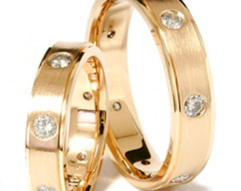 2.00Ct Diamond Matching His Hers Wedding Band Set 14K Yellow Gold