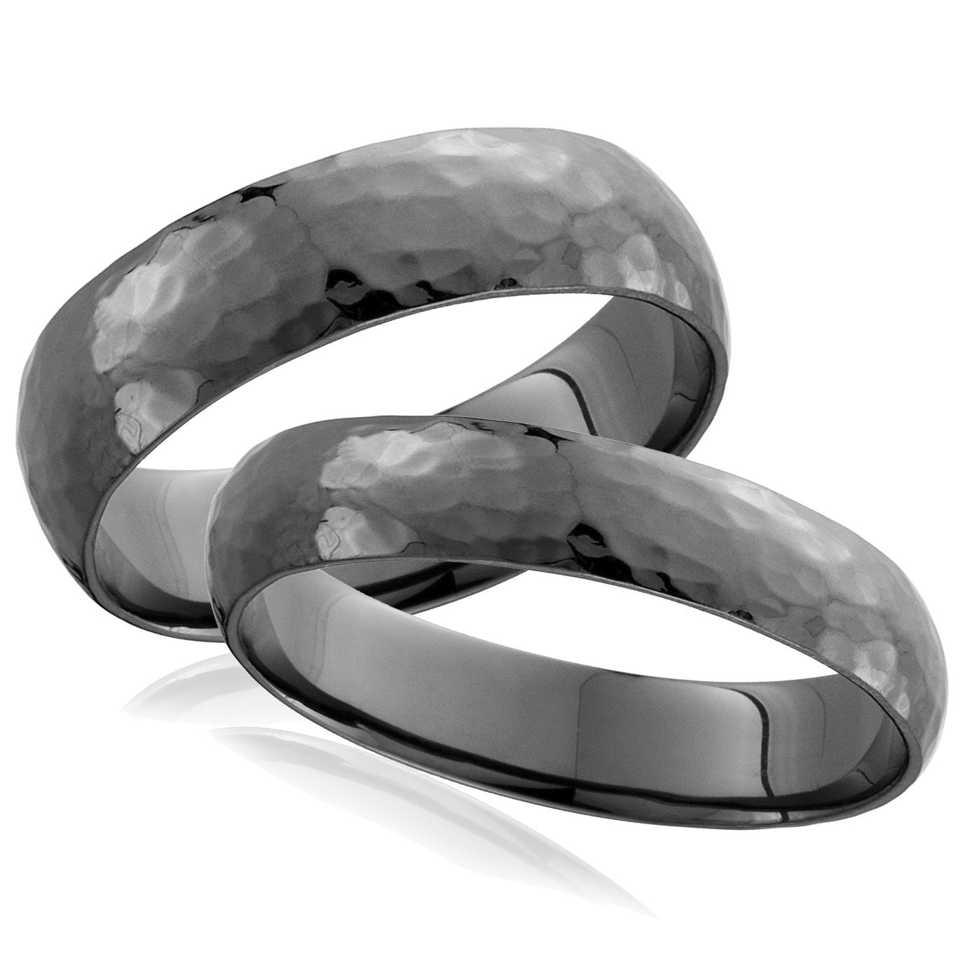 Black Gold Hammered Wedding Bands Matching Black Gold By Pompeii3