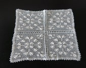 Doily Curtain White Hand Crochet Square  78a
