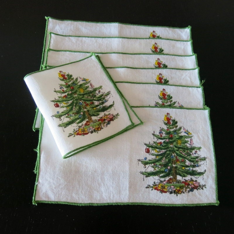 7 white linen spode cocktail napkins christmas tree 97a for White linen cocktail recipe