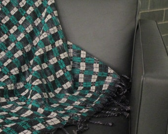 Green and White Checkerboard Blanket