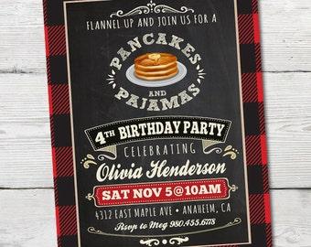 Pancakes and Pajamas Birthday Invitation, Printable Pancakes and Pajamas Party Invitation, Pancake and Pajama Party, Pancake Party