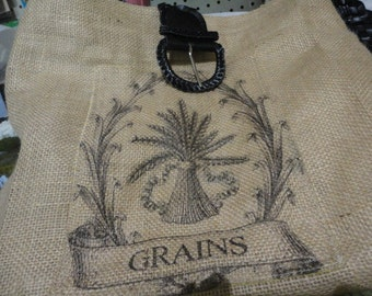 Burlap handbag, purse, market bag with braided belt handle and grains printed pocked on fromt