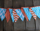 Orange Teal Party Fabric Pennant Flag Banner Dusty Crophopper Planes inspired