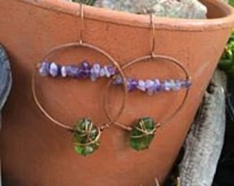 Amethyst Earrings-Sea glass Earrings-Hoop Earrings-Copper Earrings-Sea Glass-Gemstones-Gift Ideas-Holistic-Unique-Copper Hoops-Hoops-New-