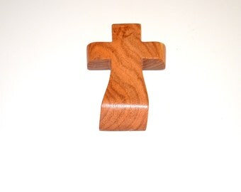 "Wood Wall Cross-Hand Held Prayer Cross-Witness Cross-Paper Weight- Original Crooked Cross- 3""x5""x1""; Free Ground Shipping USA; cc5-9082616"