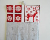 READY To SHIP/Christmas Advent Calendar / REINDEER and Snowflakes in Red and Linen / Christmas Countdown Calendar Pockets in Scandi 2 Fabric