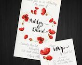 POPPY  Digital Wedding Invite, RSVP Card, DIY, Printable