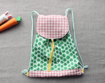 Rucksack, drawstring backpack, nursery drawstring bag. Baby and toddler gear. Birthday gift idea. Easter.
