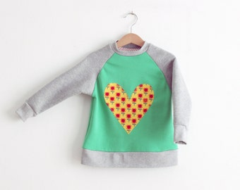 Sweatshirt baseball style for girls with heart applique. 100% organic cotton. Ready to ship. Size 3-4 years.