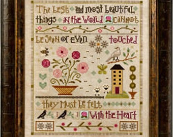 Things Unseen Mystery Sampler 1-3 : Lizzie Kate cross stitch patterns trim embellishments SAL counted hand embroidery