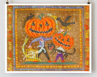 All Hallow's Night : Birds of a Feather BOAF counted cross stitch pattern Halloween jack-o-lantern October Autumn embroidery