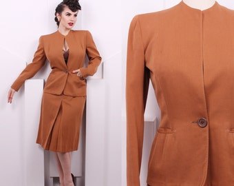 Vintage 1940's Hart Schaffner & Marx Carmel Suit Set • 40s Designer Suit Set • Size S