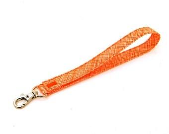 Wrist Strap by MinneBites / Handmade Wristlet Strap - Orange Crosshatch Key Chain - Fabric Wallet Strap - Lanyard Key Fob - Ready to Ship