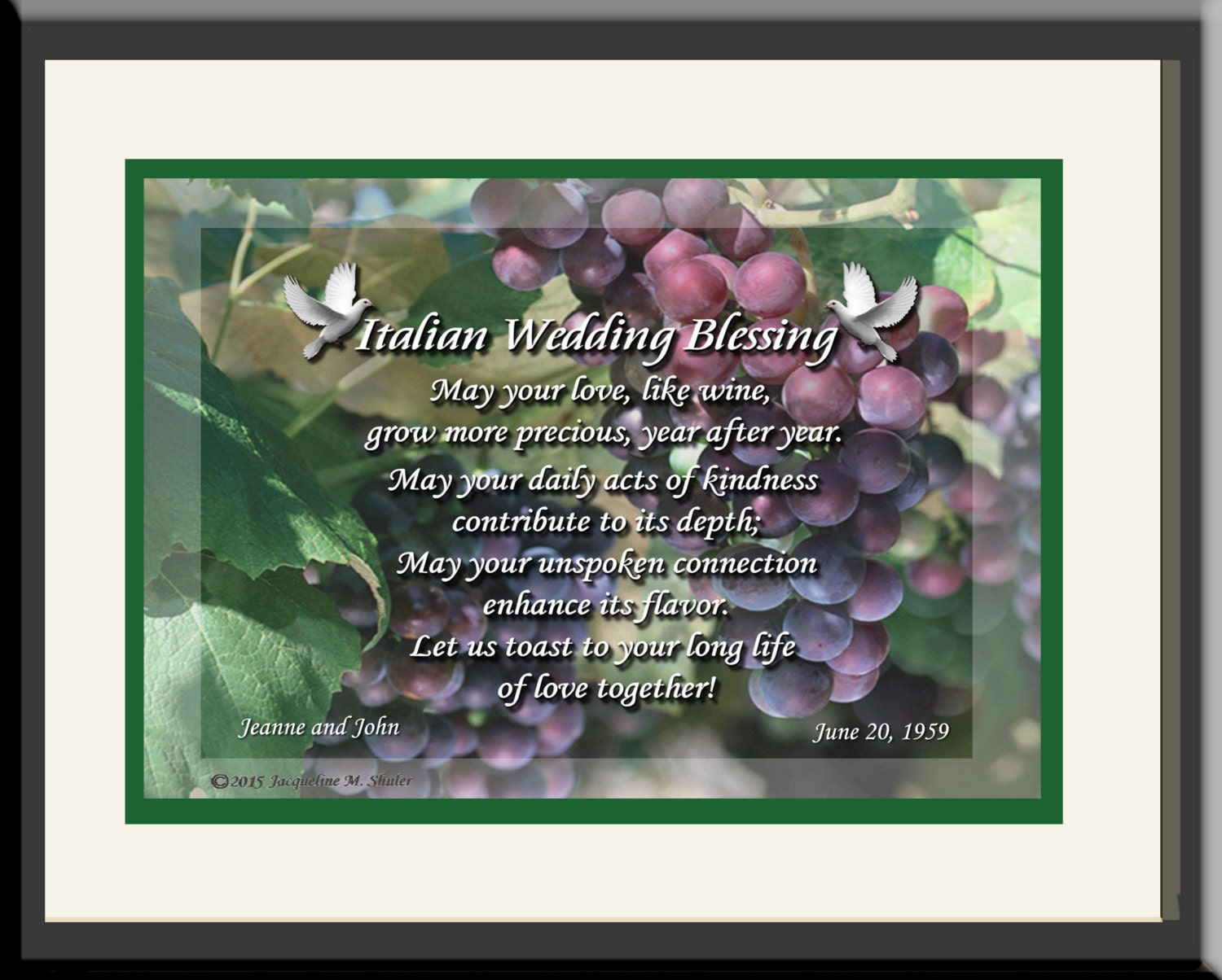 Italian Wedding Gifts: Unique Personalized Italian Wedding Gift Original Verse And