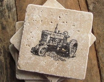 Natural stone coaster.  TRACTOR Coasters.  Set of Four Coasters. Father's Day gift.  Gift. Father's Day.  Farm.
