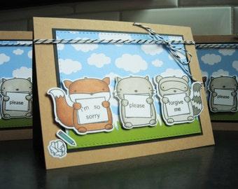 Apology Card, Sorry Card, Forgive Me Card, Boyfriend, Card for Husband, Friendship Card, Woodland Friends Card