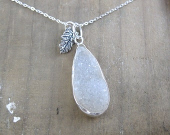 Crystal Sage // Agate Druzy and Sterling Silver Sage Leaf Pendant Necklace // Sterling Silver // Layering Piece // Nature Inspired // Custom