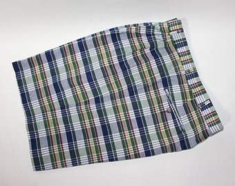 newer vintage -Berle- Men's pleat front shorts. Genuine Madras - All cotton. Mostly Blues & Greens. Size 36. USA