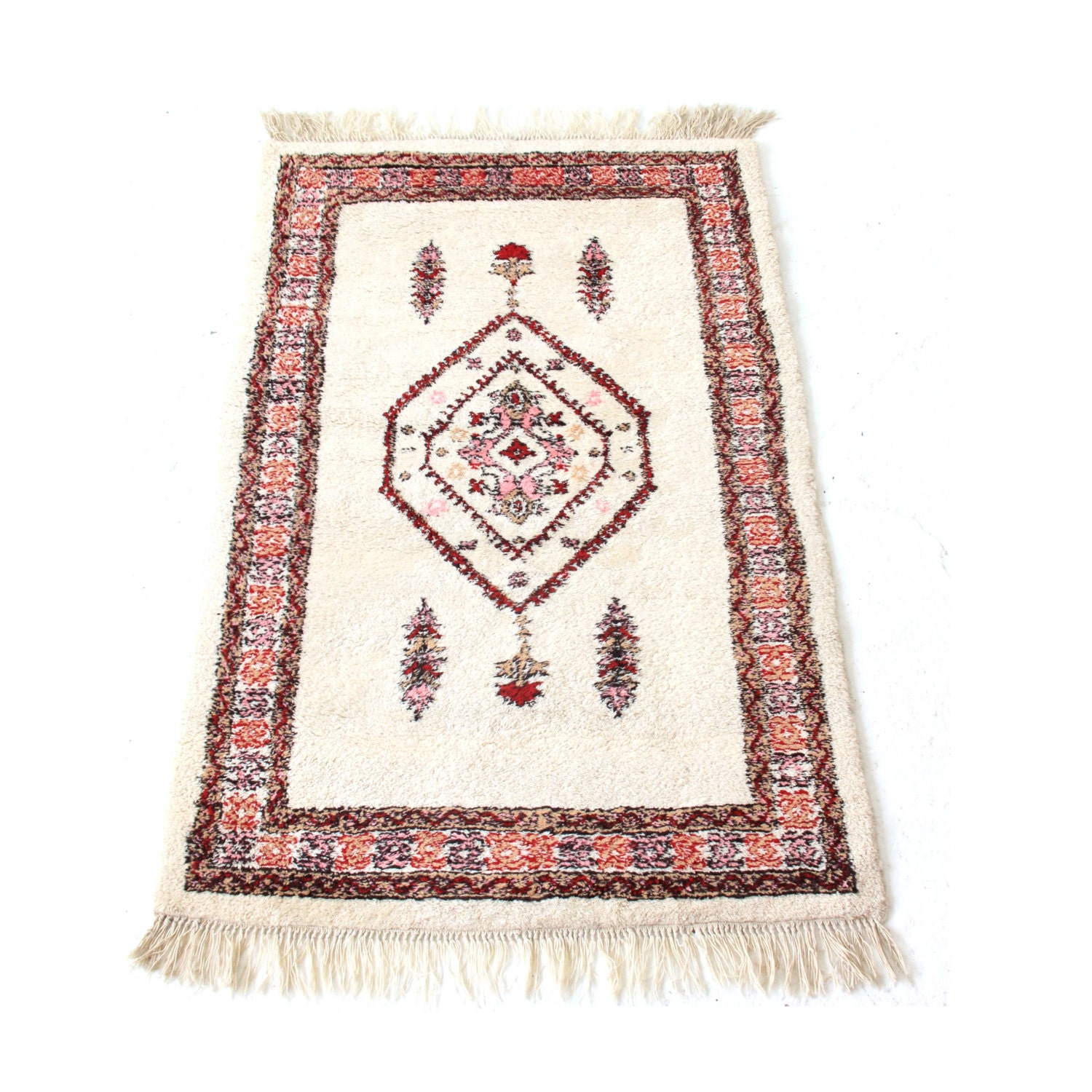 Vintage Pink And White Moroccan Rug