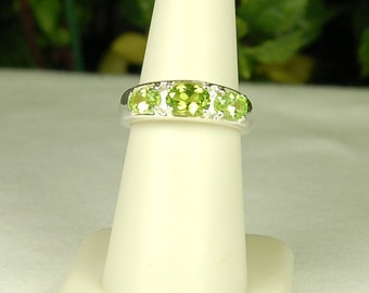Peridot Ring, Size 9, Bright Apple Green, Peridot 3 Stone, Sterling Silver, August Birthstone, Natural Peridot, Lime Green Gemstone