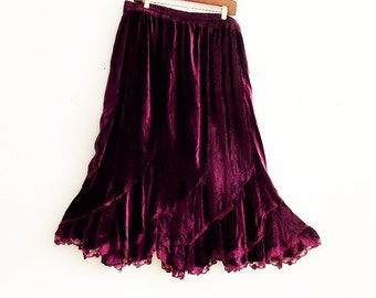 Maroon velvet flared hem Maxi skirt Plus Size