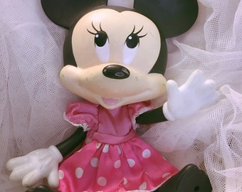 Vintage rubber toy Mini Mouse,Vintage toy,Collectible toy,Kids room vintage,Retro home decor,Disney collectible