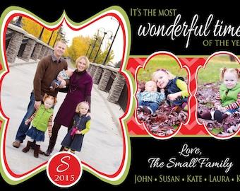 Photo Christmas Card - Multiple Designs - Digital File - You Print - Customizable - 3 photos
