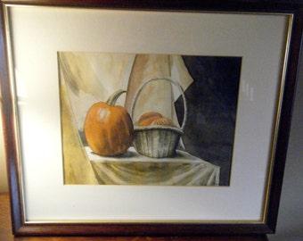 SALE Original Janet Thompson  Framed Wall Art// Signed Noted Artist // Pumpkins and Gourds// Autumnal Decor