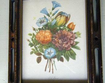 JL Prevost Botanical Print, Floral wall Decor , Intricate Walnut Frames