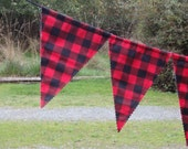 Lumberjack Party Bunting, North Woods Party, Red & Black Buffalo Plaid Party Pennants - Use Indoors or Outdoors - First Birthday Photo Prop