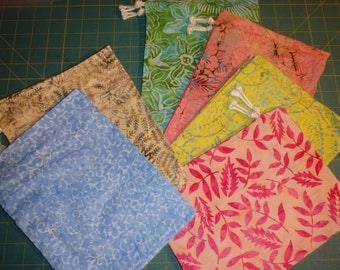 Six Batik Drawstring Bags - Waldorf Inspired Ditty Bags
