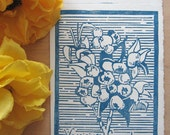 Hand Made Botanical Print - Blueberries