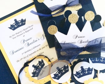 Prince Crown Birthday Party Package, Prince Themed Party, Royal Celebration, Prince Birthday Invitation, Royal Birthday Invitation