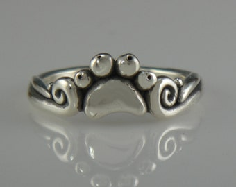 Sterling Silver Small Paw Print Ring- One of a Kind