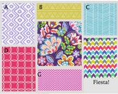Crib Bedding- Design Your Own Baby Bedding- Fiesta!- lavender, purple, pink, aqua