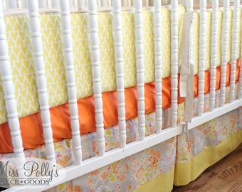 Modern Crib Bedding- Design Your Own Baby Bedding- Crib Skirt, Sheet and Bumpers- aqua, gray and coral