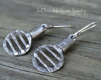 Sterling silver earrings, rustic, reticulated, fused, one of a kind metalsmith jewelry