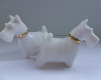 White Milk Glass Pair of Scottie Dog Avon Perfume Bottles Vintage Avon