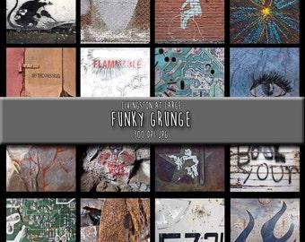 16 Funky Grunge Images INSTANT Digital Art Download Scrapbook Printable-JPG