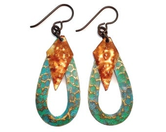 Verdigris and jade patina treated hammered brass teardrop and copper diamond drops hypoallergenic earrings