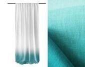 Ombre window curtain Mint dip dye white linen curtain rod pocket top Blackout lining option