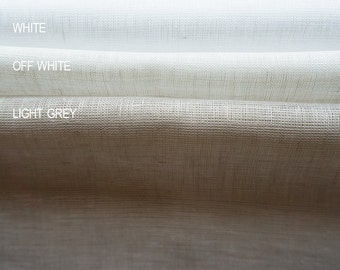 Sheer linen fabric by half yard White Off white or Light grey