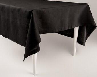 Black linen tablecloth, Black tablecloth, Custom tablecloth, Classic hem table linens by Lovely Home Idea