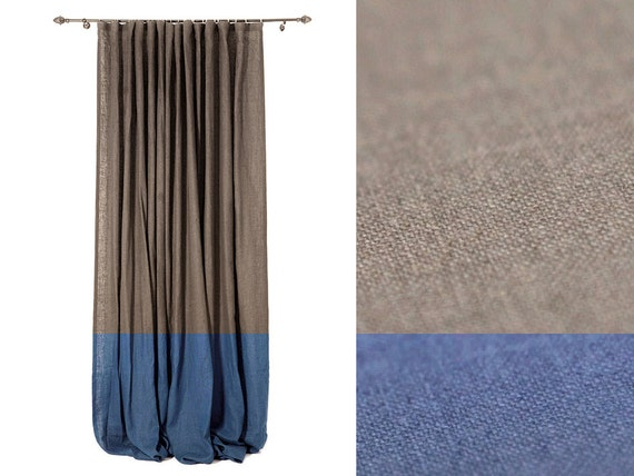 Color Block Linen Curtain Blackout Curtains Or By