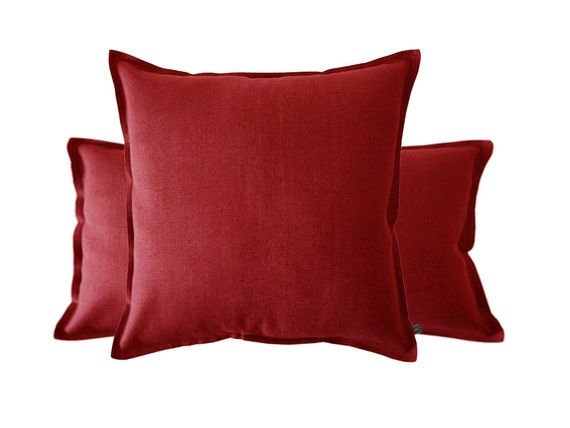 Red linen decorative pillow cover. Natural linen by LovelyHomeIdea