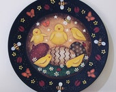 Spring Folk Art Hand Painted Primitive Wood Plate  MADE TO ORDER Easter Plate Decorated Eggs Chicks Butterflies Ladybugs Honey Bees Daisies